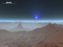 火星实景照(蓝太阳是大气沙尘散射所致)